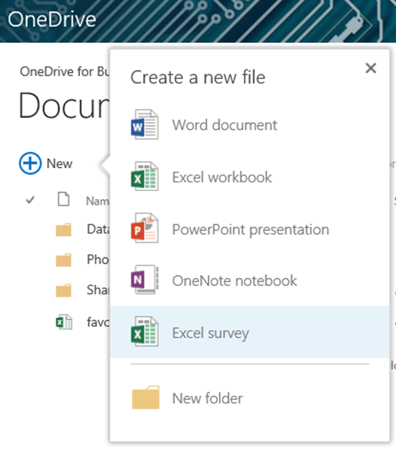onedrive new excel survey