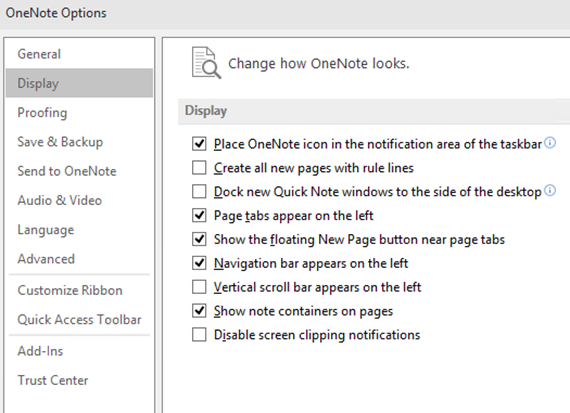 onenote display options
